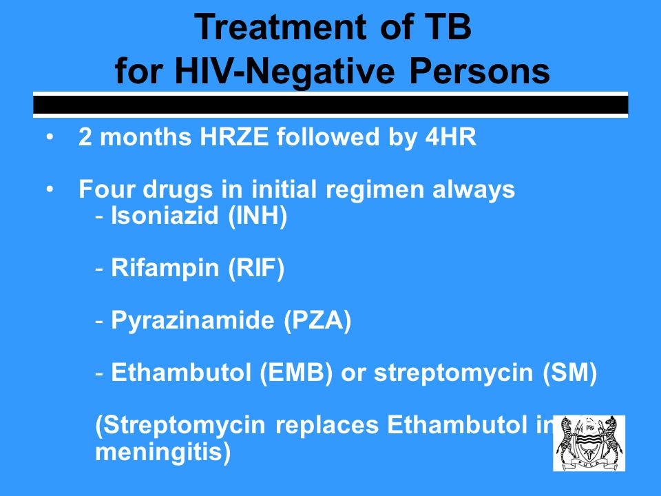 Treatment of TB for HIV-Positive Persons Management of HIV-related TB is complex and patient care needs to be coordinated with IDCC HIV-infected patients already on ARVs who develop TB should begin anti-TB meds immediately Patients on 1 st line ARVs may start Category I ATT.