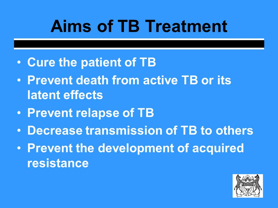 Fundamental Responsibility and Approach in TB Treatment Assure that appropriate regimen is prescribed by MOs Ensure successful completion of therapy (adherence) Utilize directly observed therapy (DOT) as standard-of-care