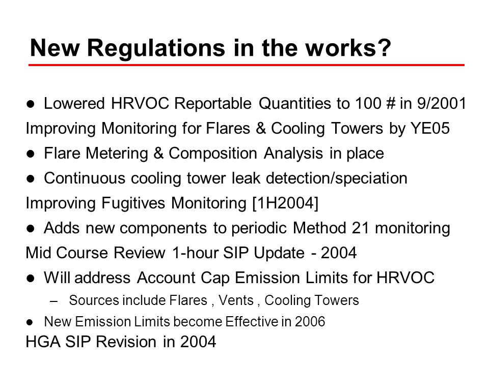 Choosing a Focus Significant data and analysis has lead Houston to Focus on specific substances, emission sources, and types of emissions Analysis of 2000 TEXAQS Data –Led to understanding of significance of HRVOC Emission Inventory Analysis to identify key sources –Led to focus on fugitives, flares, cooling towers, and vents Understanding of Emission Rate Variability –Led to focus on understanding & reducing emissions from SSM & Emission Events