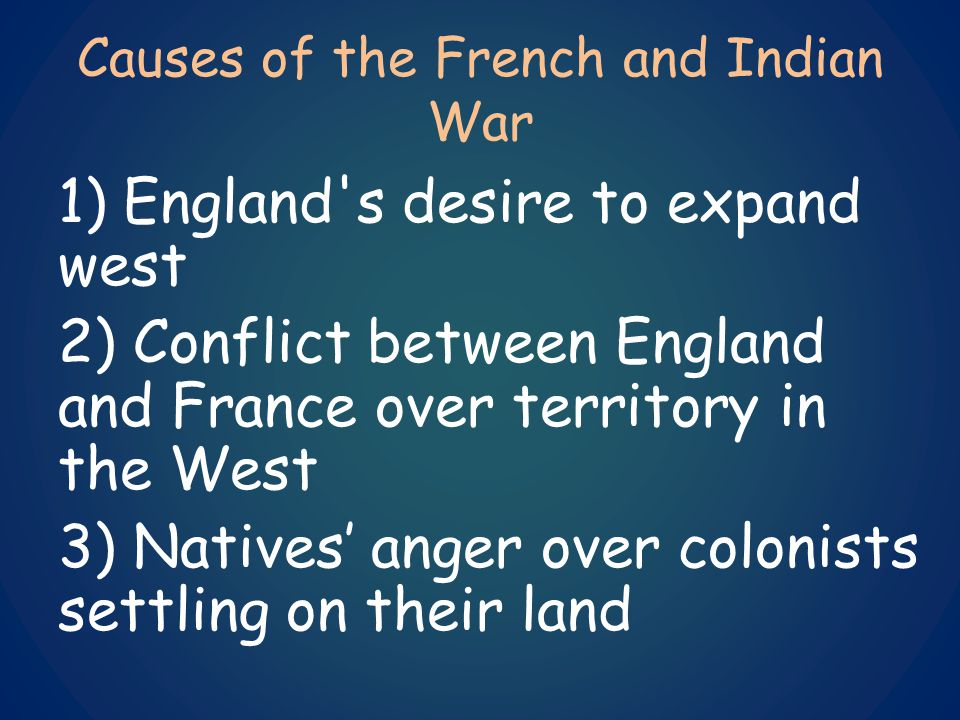 French and Indian War 1)1756-1763 2)England and its colonists vs.