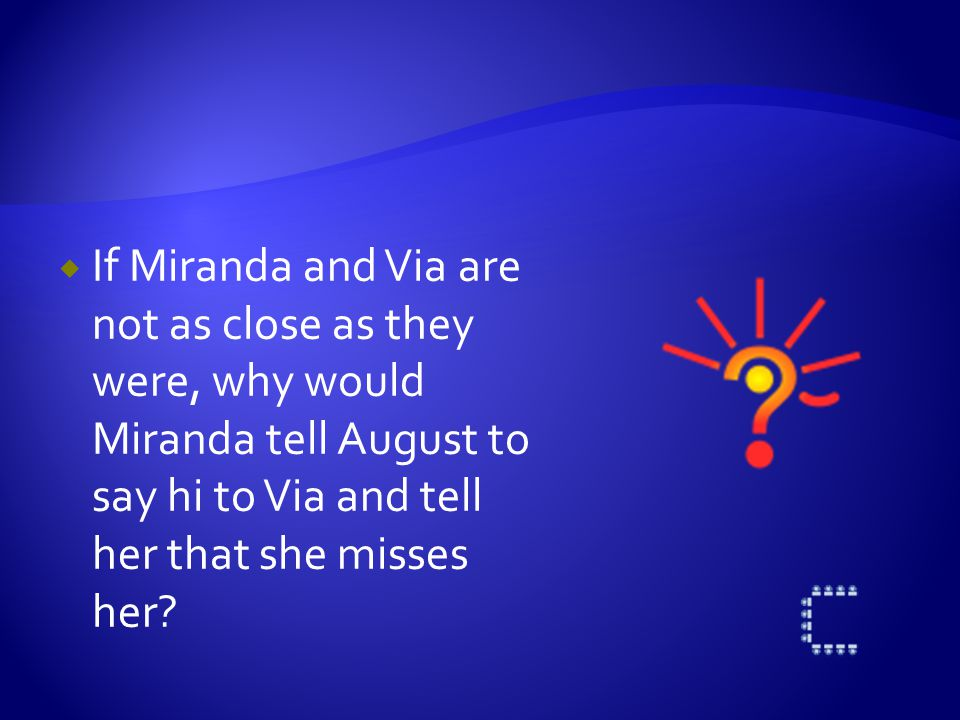  Why do you think Miranda stepped down to allow Via to play Emily in the play?