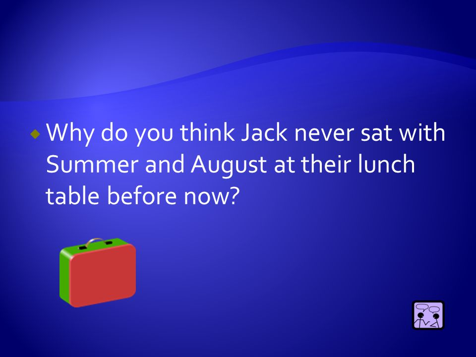  Why did August start smiling when Jack admits it's weird not to have people talk to you and pretend you don't exist?
