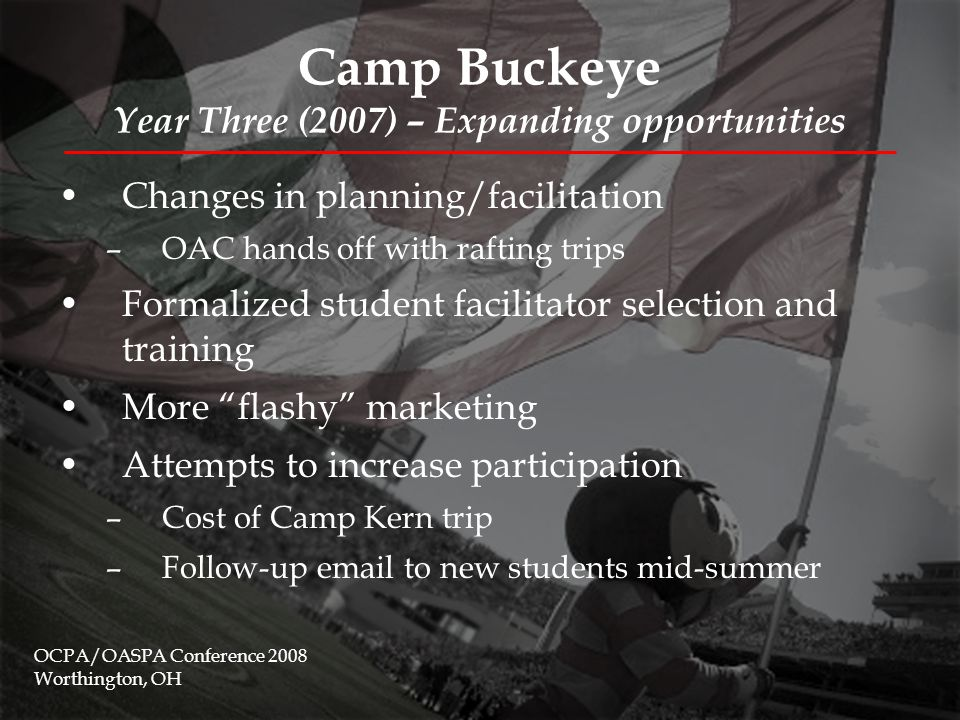 Camp Buckeye & Buckeye Adventures Year Four (2008) – Future directions Distinction between Camp Buckeye and Buckeye Adventures Creation of three Student Director positions More involvement from FYE in planning and execution of trips Focus on risk management and facilitator training Specific changes include: –More campers for Maine trip –Timing of Camp Kern trip –MI trip is replaced by KY trip –More extensive marketing & promotion OCPA/OASPA Conference 2008 Worthington, OH