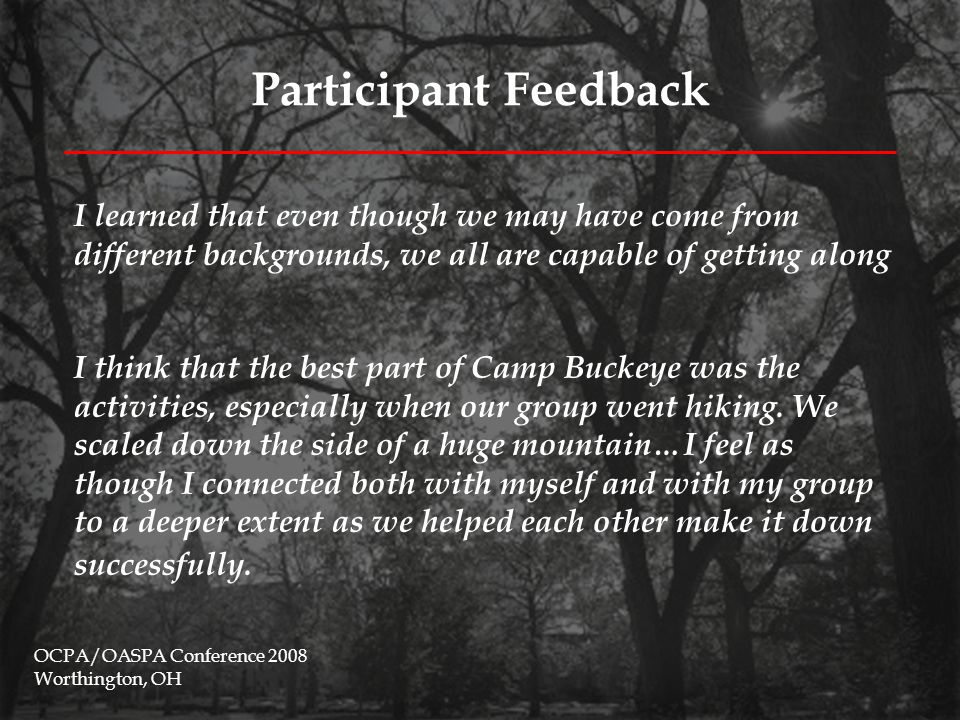 Participant Feedback OCPA/OASPA Conference 2008 Worthington, OH Meeting people before the school year started was such a great experience.