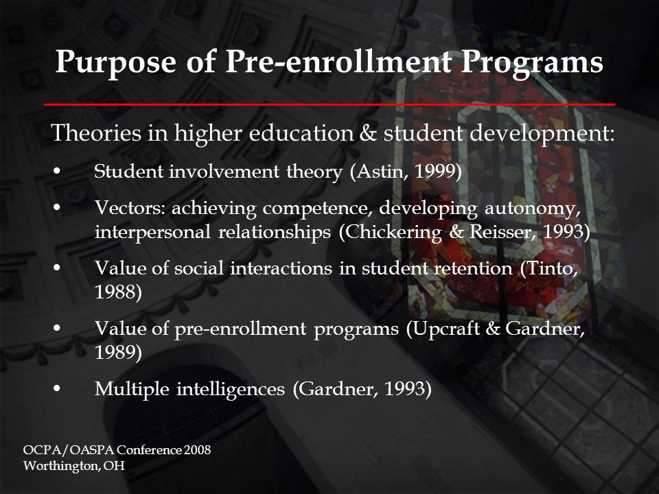 Purpose of Pre-enrollment Programs Theories relating to camp programs: John Dewey's (1938) experiential education Kolb's (1981) Cycle of Learning  Brent Bell's (2006) outdoor orientation program research Outward Bound studies OCPA/OASPA Conference 2008 Worthington, OH Reflective observation Abstract conceptualization Active experimentation Concrete experience