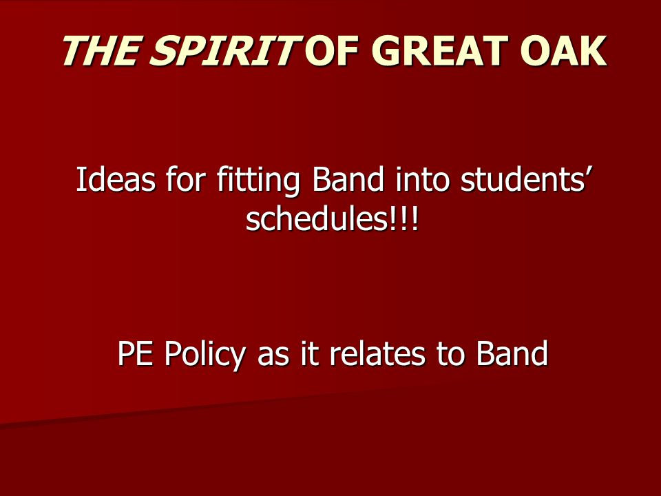 Foundation of Freshmen Schedules Band/Colorguard/Drum Line Student Core 4 1English 9 or Pre-IB English 9 1English 9 or Pre-IB English 9 2Math – see GOHS Math Dept Placement Info online 2Math – see GOHS Math Dept Placement Info online 3Science – 3Science –  Global Science,  Pre-AP Biology (If an A or B in Algebra 1 as 8th; and in Geometry in 9th),  Chemistry (If and A or B in Geometry or above in 8 th ; taking Algebra 2/PRE-IB Alg 2 or above in 9th).