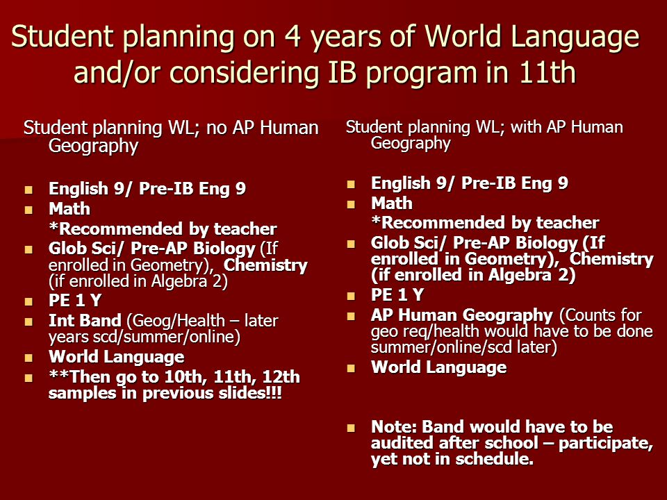 Intermdiate Band and JROTC in 9th with/without World Language Student NOT planning WL English 9/ Pre-IB Eng 9 English 9/ Pre-IB Eng 9 Math Math *Recommended by teacher Glob Sci/ Pre-AP Biology (If enrolled in Geometry), Chemistry (if enrolled in Algebra 2) Glob Sci/ Pre-AP Biology (If enrolled in Geometry), Chemistry (if enrolled in Algebra 2) Geography/PE 1 B Geography/PE 1 B JROTC/Aerospace Y JROTC/Aerospace Y Intermediate Band Intermediate Band Note: JROTC counts for PE 1 A 1st semester/health second semester.