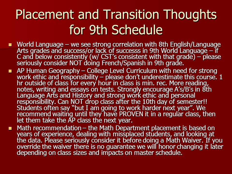 Schedules that will NOT work in 9th!!.