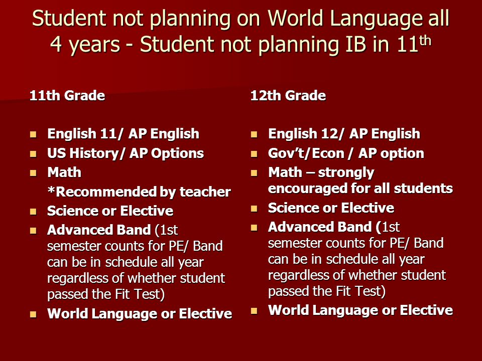 Student planning on 4 years of World Language and/or considering IB program in 11th Student planning WL; no AP Human Geography English 9/ Pre-IB Eng 9 English 9/ Pre-IB Eng 9 Math Math *Recommended by teacher Glob Sci/ Pre-AP Biology (If enrolled in Geometry), Chemistry (if enrolled in Algebra 2) Glob Sci/ Pre-AP Biology (If enrolled in Geometry), Chemistry (if enrolled in Algebra 2) PE 1 Y PE 1 Y Int Band (Geog/Health – later years scd/summer/online) Int Band (Geog/Health – later years scd/summer/online) World Language World Language **Then go to 10th, 11th, 12th samples in previous slides!!.