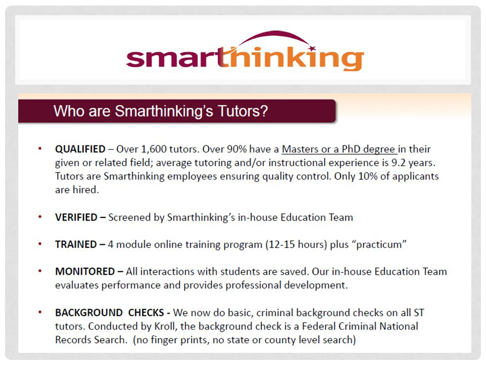 Smarthinking will be available for all students and faculty to utilize, beginning next week Username = SSU email address Password = SSU
