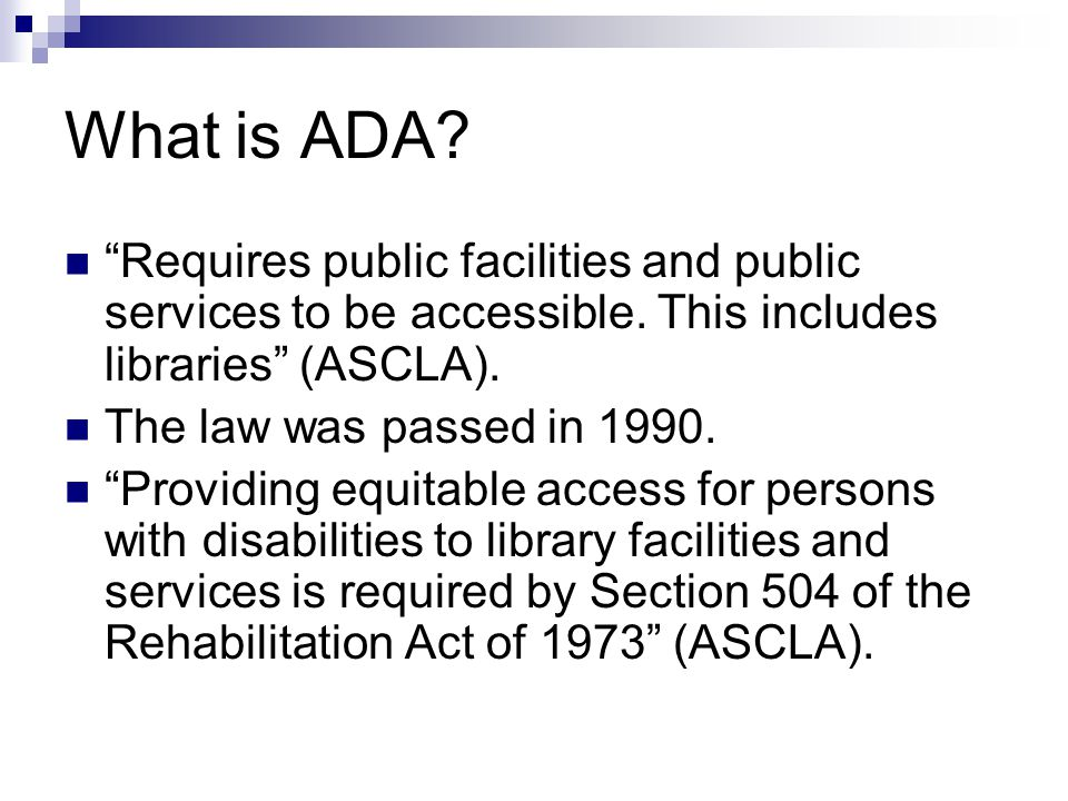 ADA in libraries.