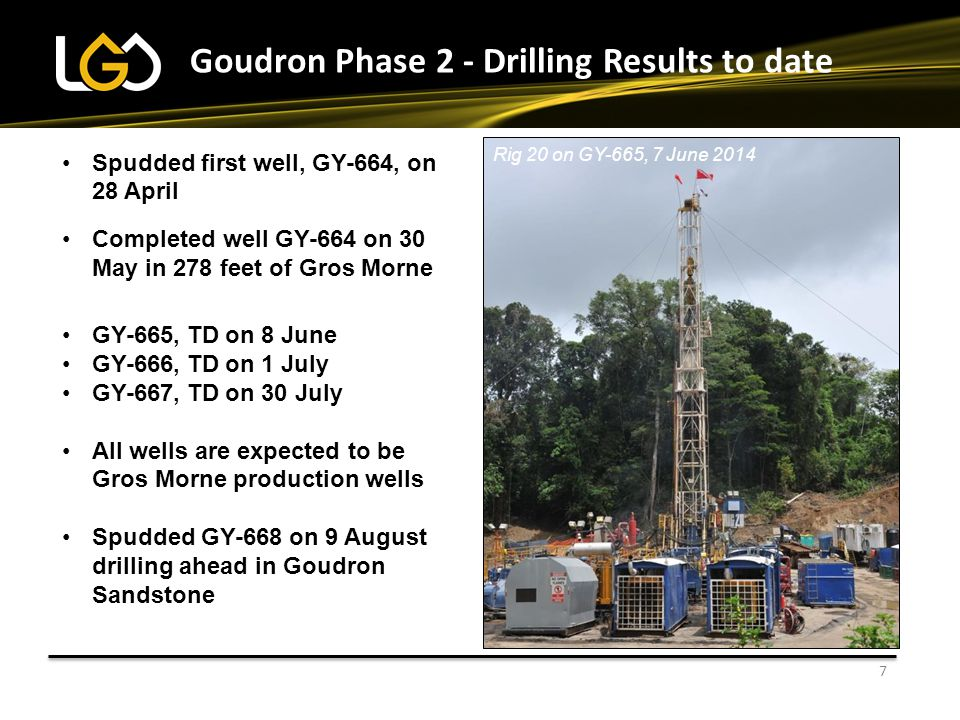 8 Well GY-664 First new well on the field for over 32 years Drilled from the central camp area Found 571 feet of net oil pay within 3 reservoirs Completed over an interval of 278 feet of Gros Morne Initial flow rate 240 bopd 37 API oil through a 7/32 choke at a flowing pressure of 660 psi Choked back to 6/32 pressure stable at 540 psi