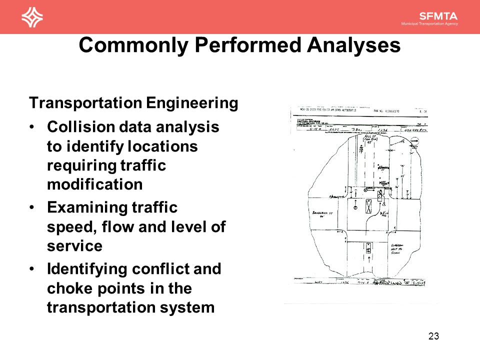 Commonly Performed Analyses Bike + Ped Planning Route safety analysis Bike volume analysis by corridor Bike parking occupancy Bikeshare turnover and use 24