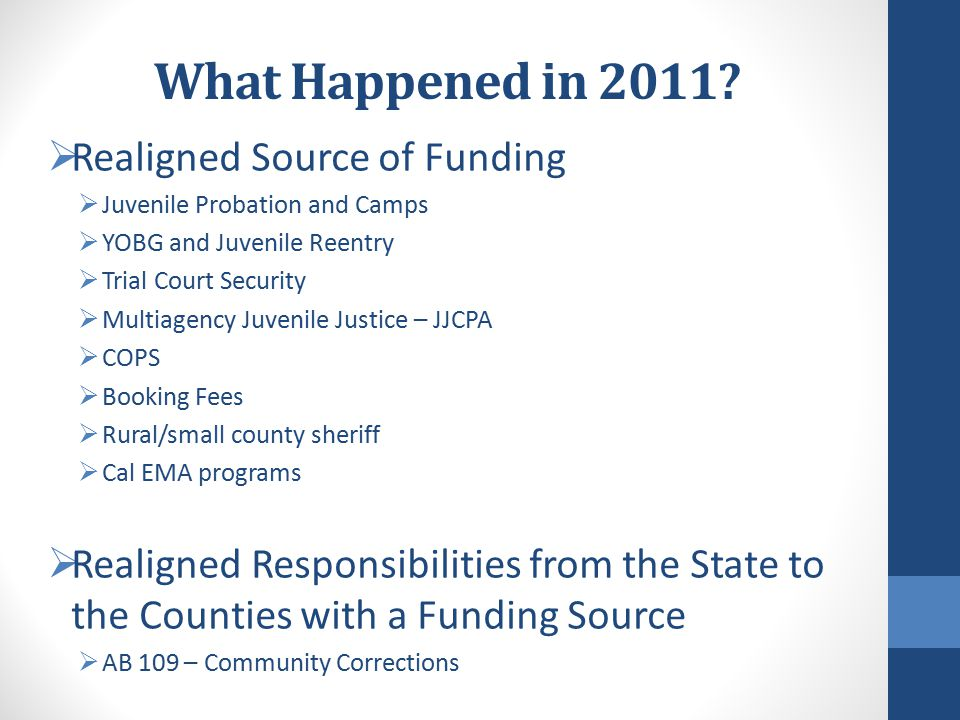 County Local Revenue Fund 2011 Law Enforcement Services County Local Revenue Fund 2011 Law Enforcement Services Account Juvenile Justice Subaccount Youthful Offender Block Grant Special Account Juvenile Reentry Grant Special Account Community Corrections Subaccount District Attorney and Public Defender Subaccount Enhancing Law Enforcement Activities Subaccount Local Innovation Subaccount (Beginning FY 15-16 each County shall transfer 10% from Trial Court Security Growth Special Account, Community Corrections Growth Special Account, DA and Public Defender Growth Account, and Juvenile Justice Growth Special Account) Trial Court Security Subaccount