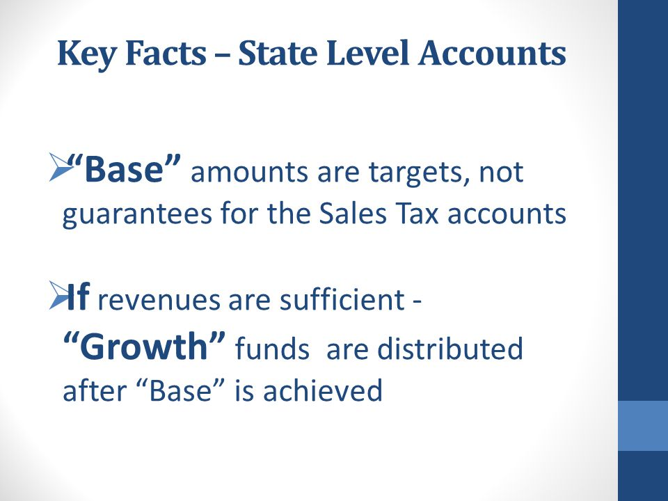 Base Amounts Defined Law Enforcement  Is a target amount that must be achieved before funds can flow to a Growth Account  Is not a minimum, not a guaranteed amount, not related to workload  A Rolling Base is a Base amount that is adjusted each year by the amount received in the Growth Account in a previous year  All funds received in a fiscal year flow to the Base requirement first