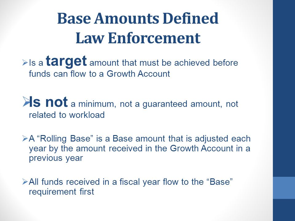 What's Next in Law Enforcement The Local Innovation Subaccount  Must be established at the Local Level in FY 15-16  Transfers begin in FY 15-16  Transfer 10% of the moneys received from these State Growth Accounts to the Innovation Subaccount Trial Court - Community Corrections - District Attorney & Public Defender - Juvenile Justice  Allowable Uses – By the Board of Supervisors – as would spend any funds in these accounts