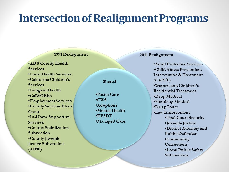 1991 Realignment Program Ratios Program CalWORKs Aid PaymentsCalWORKs EligibilityFoster CareChild Welfare ServicesAdoptions Assistance CalWORKs Employment Services In-Home Supportive ServicesCounty Services Block GrantCalifornia Children's Services Old Share (non-Fed) 11%50% 5%24% 0% 3%16%25% New 1991 Share (non-Fed) 5%30%60%30%25%30%35%30% total50% total
