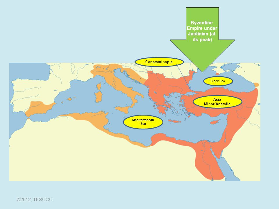 The Byzantine Empire The Basics: The Byzantine Empire (340- 1453) –The eastern half of the Roman Empire Consisted of southern Europe, Anatolia, Palestine, and Egypt Capital at Constantinople since 340 CE Emperor that divided the Roman Empire into two: –Constantine ©2012, TESCCC