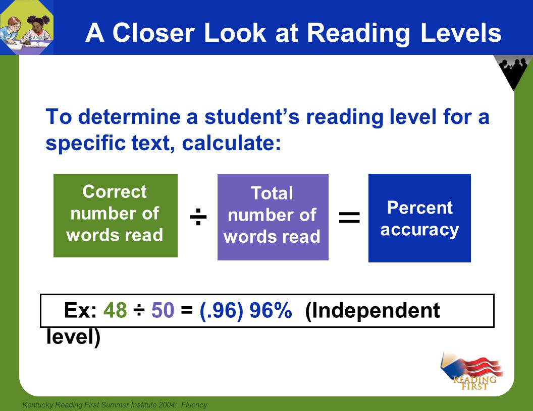 Kentucky Reading First Summer Institute 2004: Fluency What We Know from Research Repeated and monitored oral reading improves fluency Repeated reading can benefit most students throughout elementary school, as well as struggling readers at higher grade levels