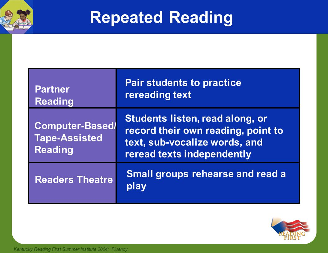 Kentucky Reading First Summer Institute 2004: Fluency Partner Reading involves pairing students to practice rereading text increases the amount of time students are reading and provides a model of fluent reading