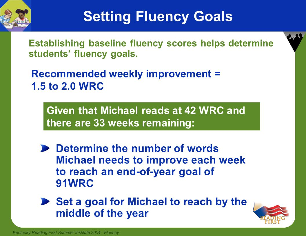 Kentucky Reading First Summer Institute 2004: Fluency Procedures for Assessing Fluency Having students read three unfamiliar, instructional-level passages and recording and graphing the median words read correctly (WRC) is more reliable than using a fluency score based on one passage.