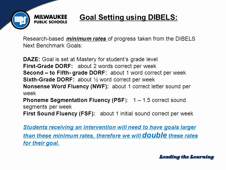 When setting intervention target (or goal), you should double the minimum rates listed above, multiply by the number of intervention weeks, and add that number to your baseline.