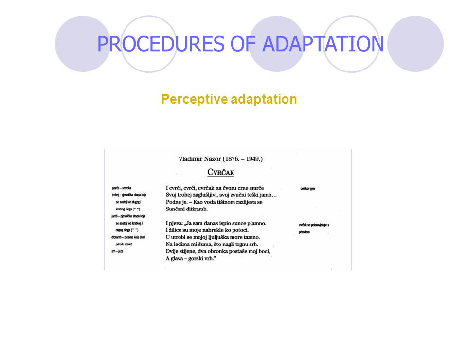 Perceptive adaptation