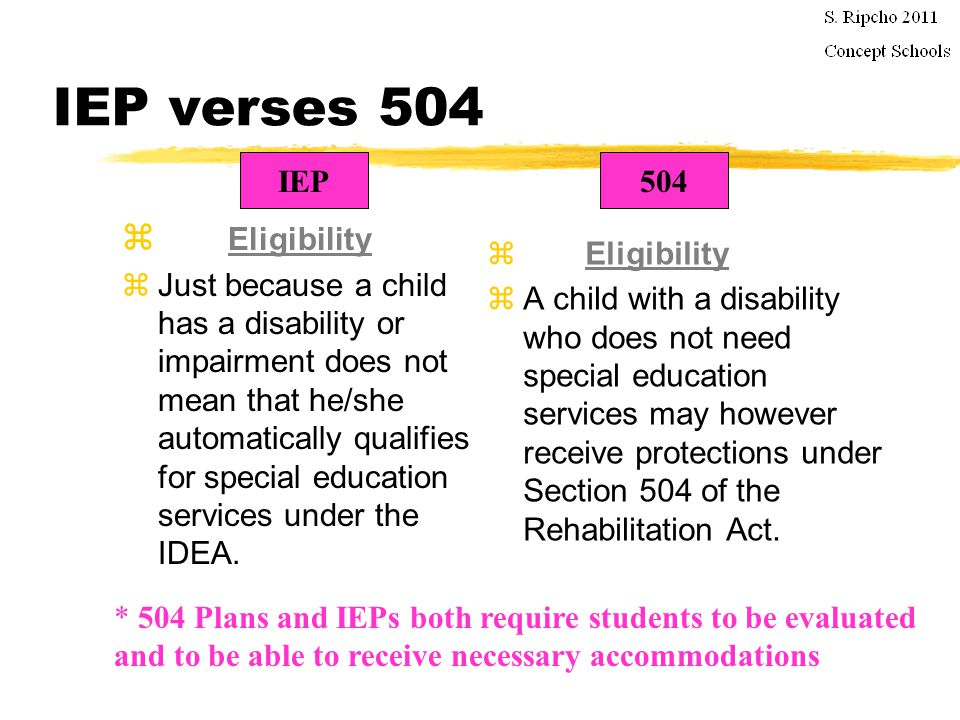 IEP verses 504 zIEP students have the right to stay in their current placement pending a dispute (commonly referred to as stay put ) and they have the right to certain protections when they are suspended.