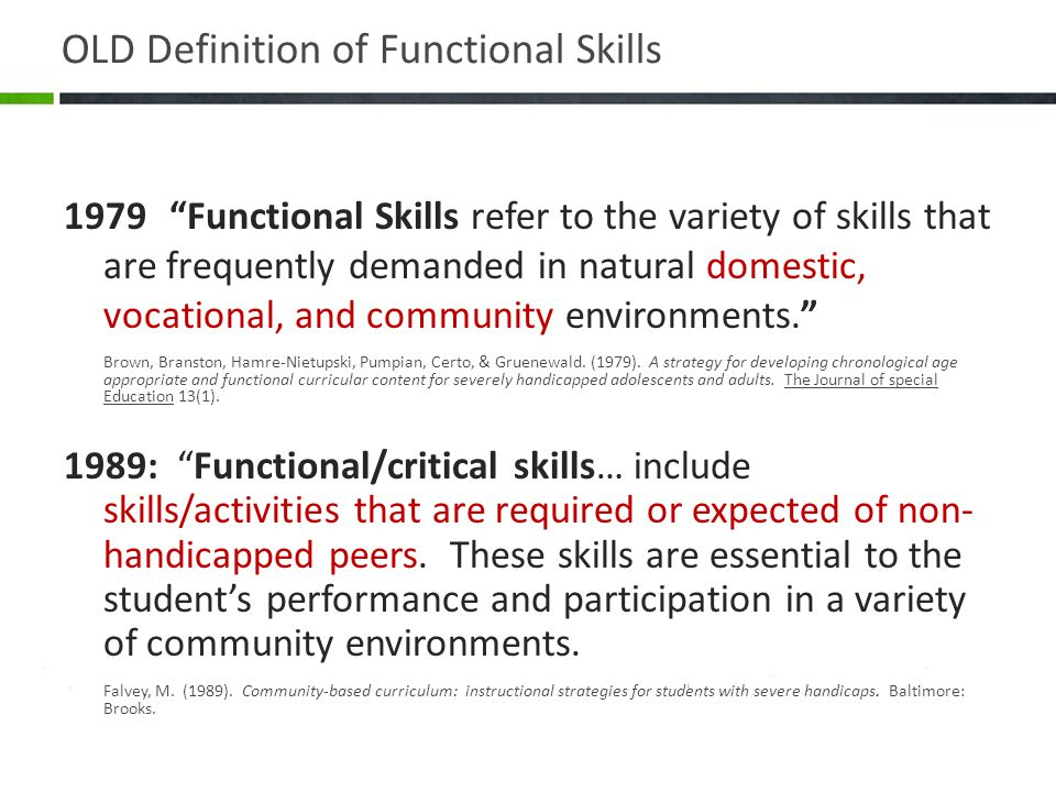 New Definition of Functional Skills 1998: …skills such as communication, cooperation, problem solving, self-initiation, responsibility …have been shown to be more related to job stability than the ability to perform specific vocational tasks. … the academic and social benefits of inclusion rely on students being full-time members of general education classes and their school communities. Jorgensen, C.M (1998).