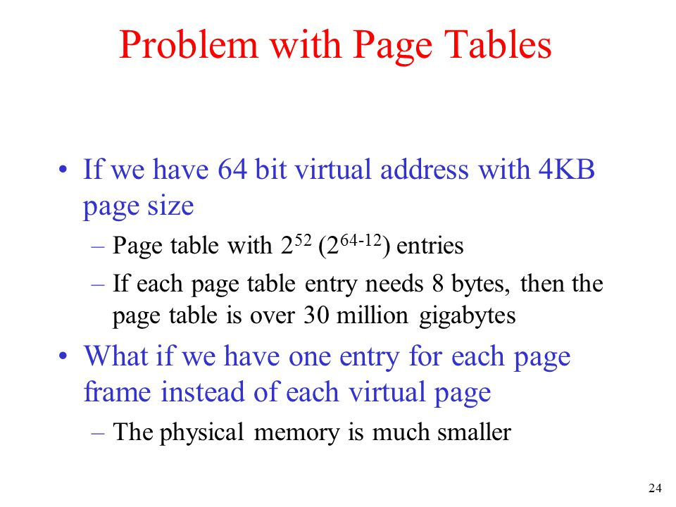 25 Inverted Page Tables Comparison of a traditional page table with an inverted page table