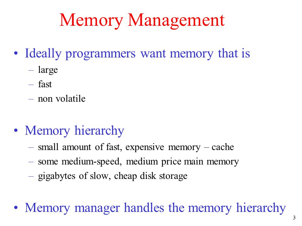 4 Basic Memory Management Monoprogramming without Swapping or Paging Three simple ways of organizing memory - an operating system with one user process Mainframes and MinicomputersPDAs and Embedded SystemsPCs and MS-DOS
