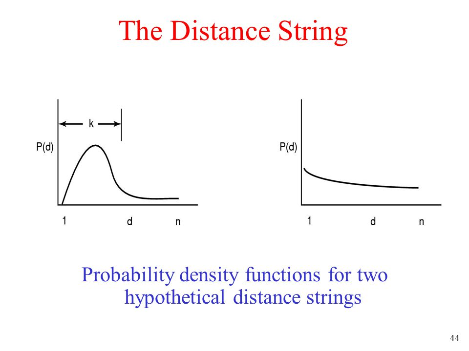 45 The Distance String Computation of page fault rate from distance string –the C vector –the F vector