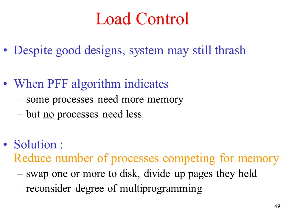 50 Page Size (1) Small page size Advantages –less internal fragmentation – better fit for various data structures, code sections –less unused program in memory Disadvantages –programs need many pages, larger page tables