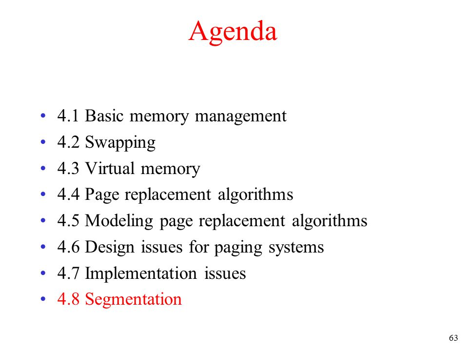 64 Segmentation (1) One-dimensional address space with growing tables One table may bump into another