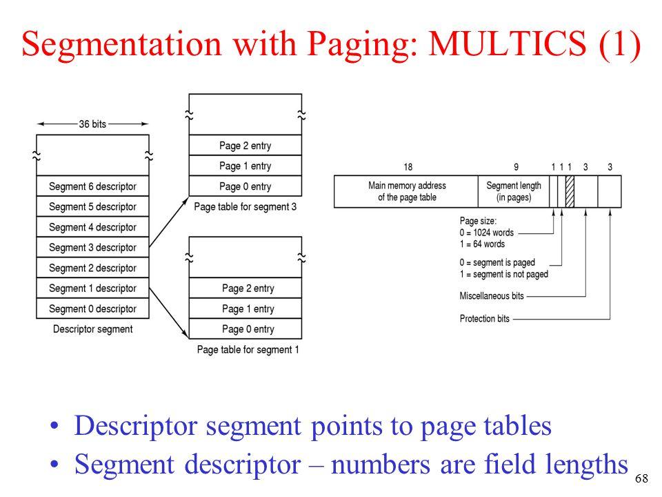 69 Segmentation with Paging: MULTICS (2) A 34-bit MULTICS virtual address