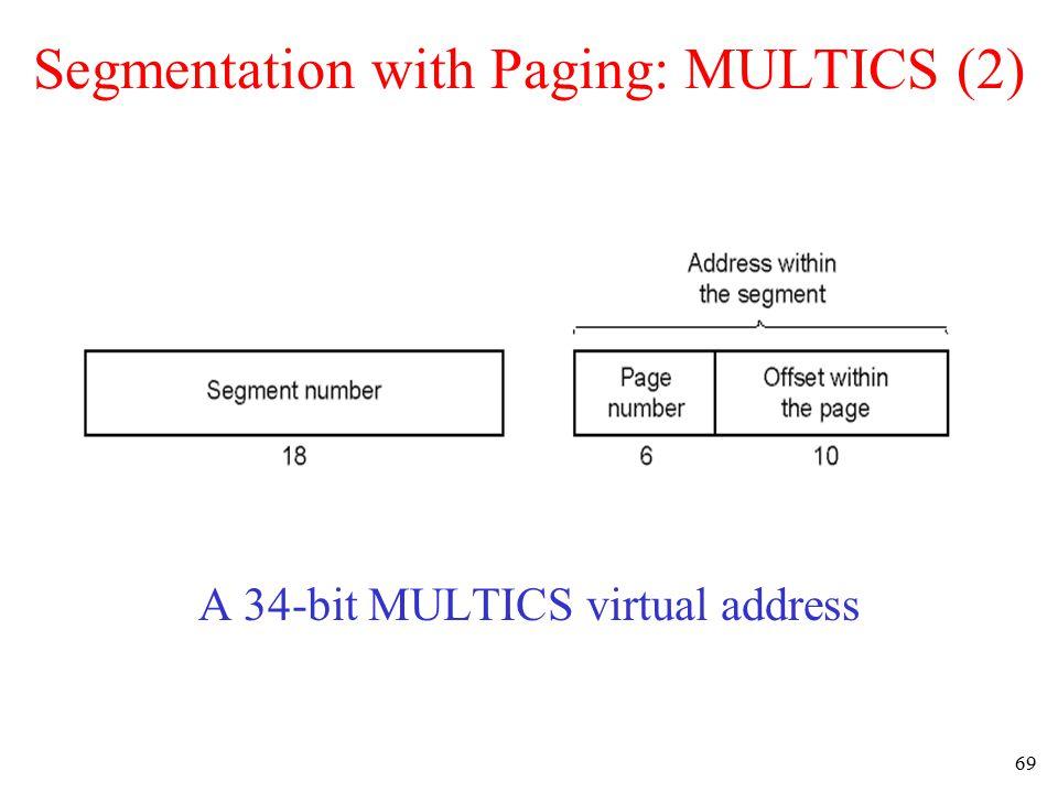 70 Segmentation with Paging: MULTICS (3) Conversion of a 2-part MULTICS address into a main memory address