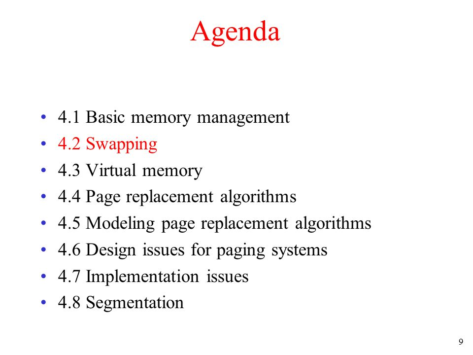10 Motivation Fixed memory partitions –Good for batch systems –Simple and effective For Time Sharing systems and PCs –There may not be enough main memory to hold all the currently active processes.