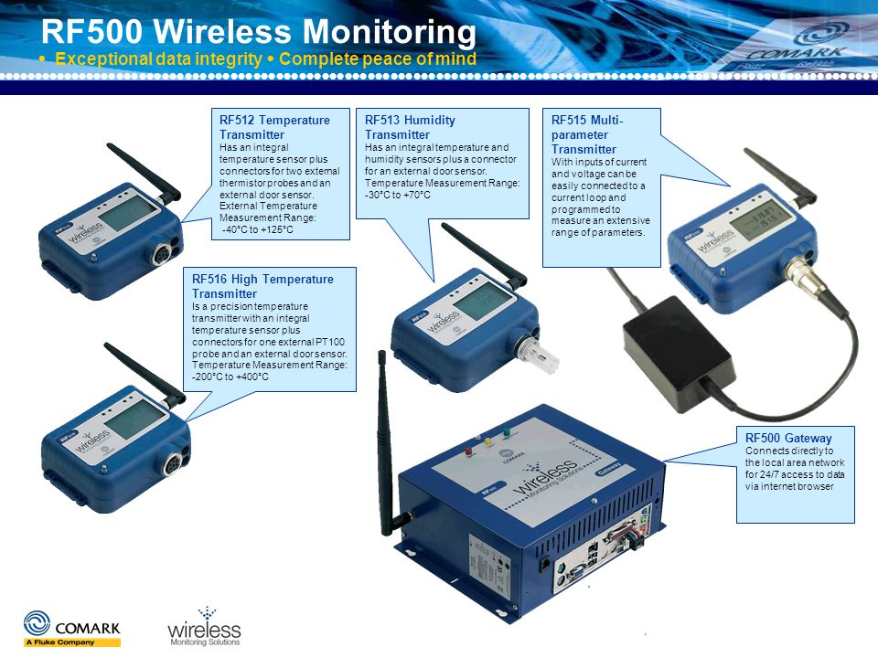 RF500 Wireless Monitoring  Exceptional data integrity  Complete peace of mind Gateway features Antenna LEDs for active/alarm indication Worldwide licence free 2.4Ghz Over 500 channels 128 transmitter capacity across 32 locations No need for decidated PCs and additional ….software or user licences Web browser technology means data is available … 24/7 via PCs or PDAs Secure Lumberg connector for probes
