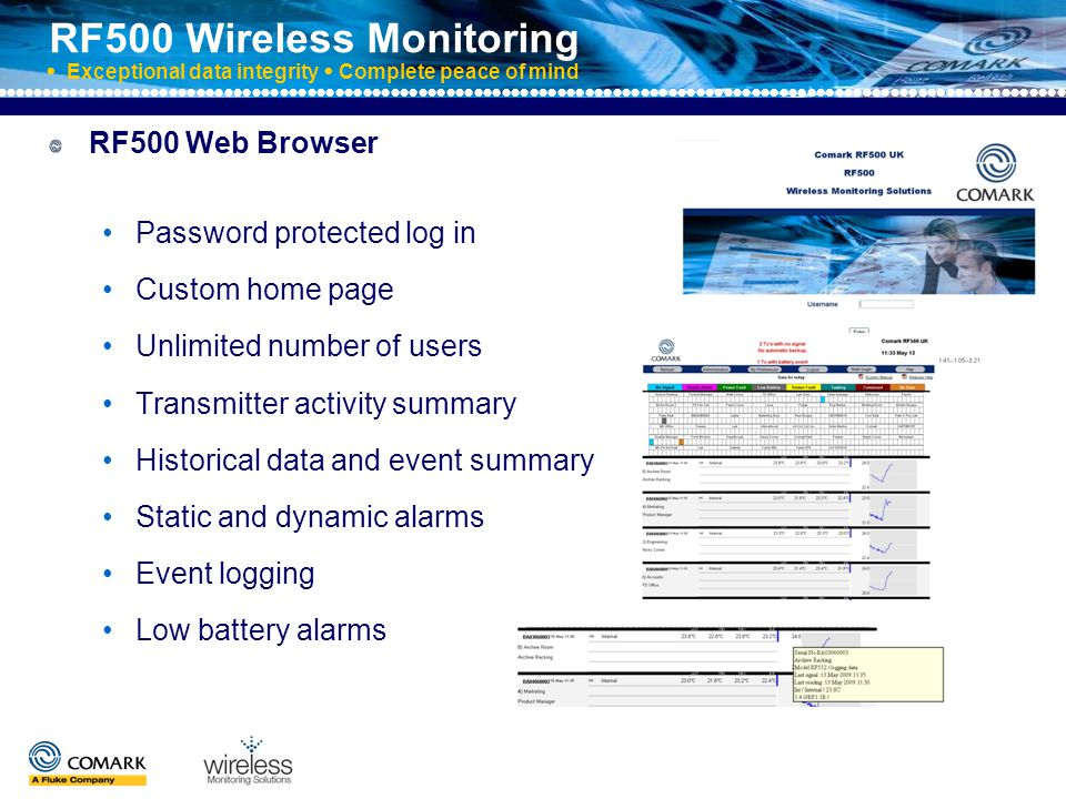 RF500 Wireless Monitoring  Exceptional data integrity  Complete peace of mind More about RF500 Web Browser Multi-graphs and data exporting Corrective action recording MKT and lethality calculations Full Audit Trail management Optional backup software High security features aid ….21CFR Part 11 compliance Event logging Low battery alarms