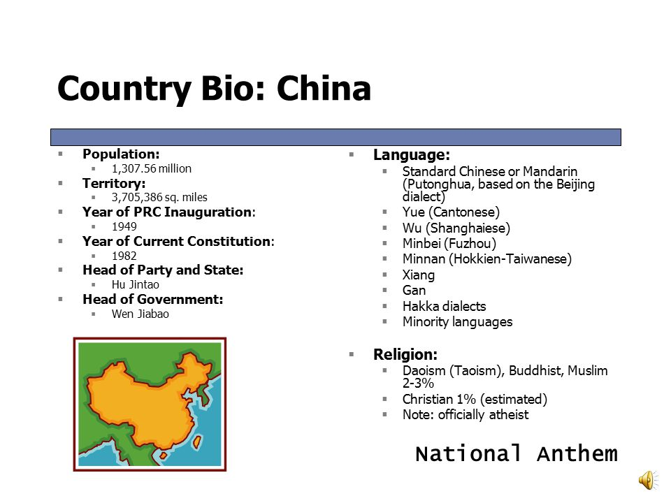 Country Bio: China  Population:  1,307.56 million  Territory:  3,705,386 sq.