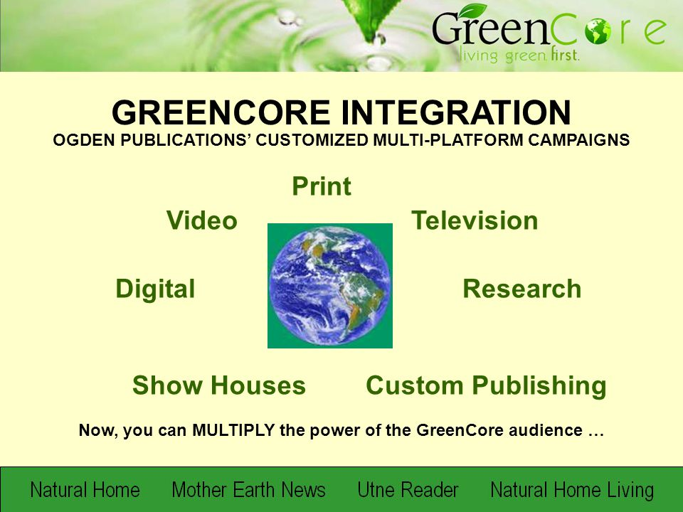 GROWING THE GREENCORE 69 million opportunities for mindshare Introducing…