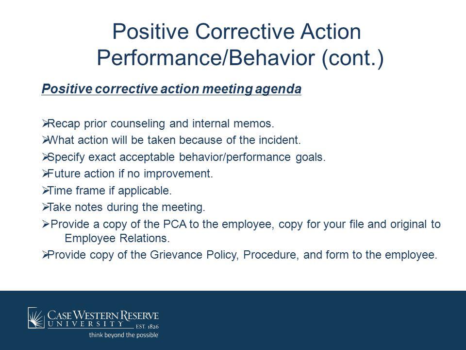 Positive Corrective Action Performance/Behavior: cont.