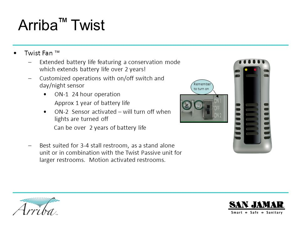 Arriba Twist Twist Passive™ –Continuous odor control for up to 60 days –No batteries required –Simple and Silent operation –Best suited for installation near a door that enters in, 1-2 stall restrooms or in conjunction with Twist Solaire™ or Twist Fan™ TM