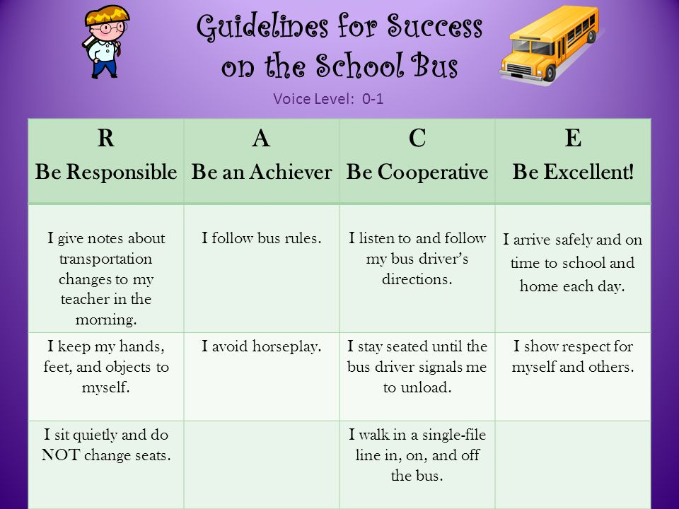 Guidelines for Success on the School Bus R Be Responsible A Be an Achiever C Be Cooperative E Be Excellent.