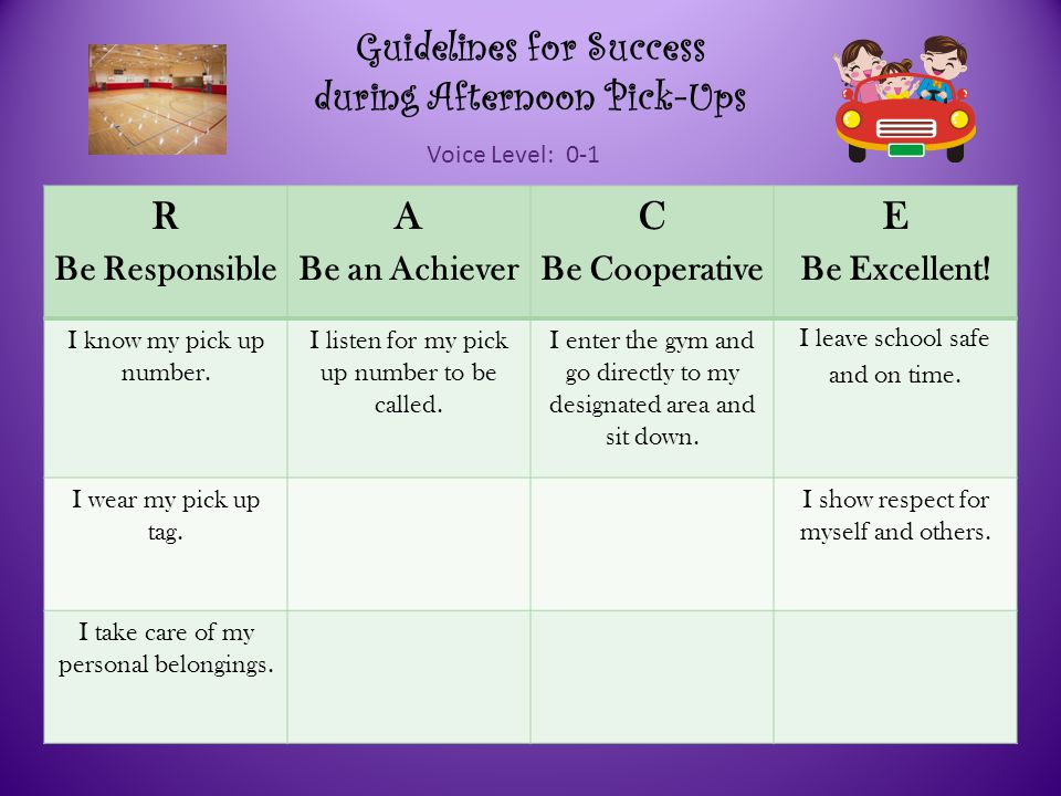 Guidelines for Success during Afternoon Pick-Ups Voice Level: 0-1 R Be Responsible A Be an Achiever C Be Cooperative E Be Excellent.