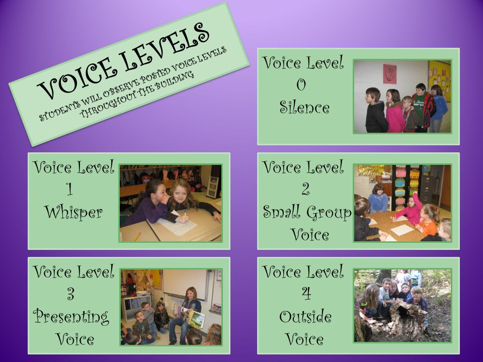 VOICE LEVELS STUDENTS WILL OBSERVE POSTED VOICE LEVELS THROUGHOUT THE BUILDING Voice Level 0 Silence Voice Level 1 Whisper Voice Level 2 Small Group Voice Voice Level 3 Presenting Voice Voice Level 4 Outside Voice