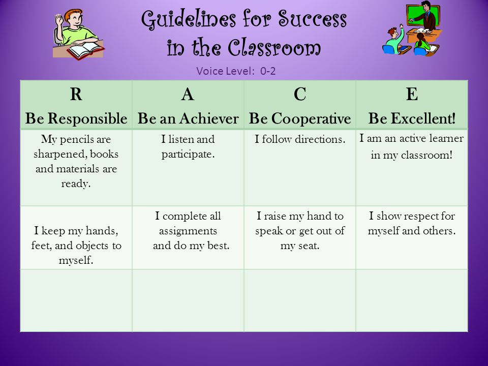 Guidelines for Success in the Classroom R Be Responsible A Be an Achiever C Be Cooperative E Be Excellent.