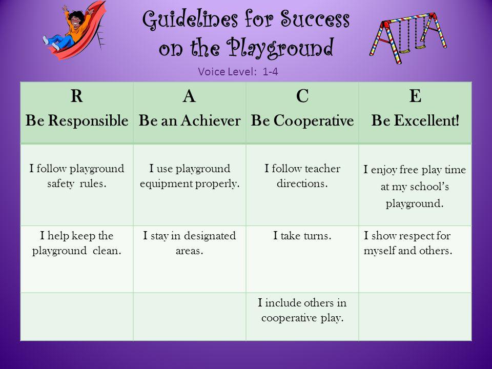 Guidelines for Success on the Playground R Be Responsible A Be an Achiever C Be Cooperative E Be Excellent.