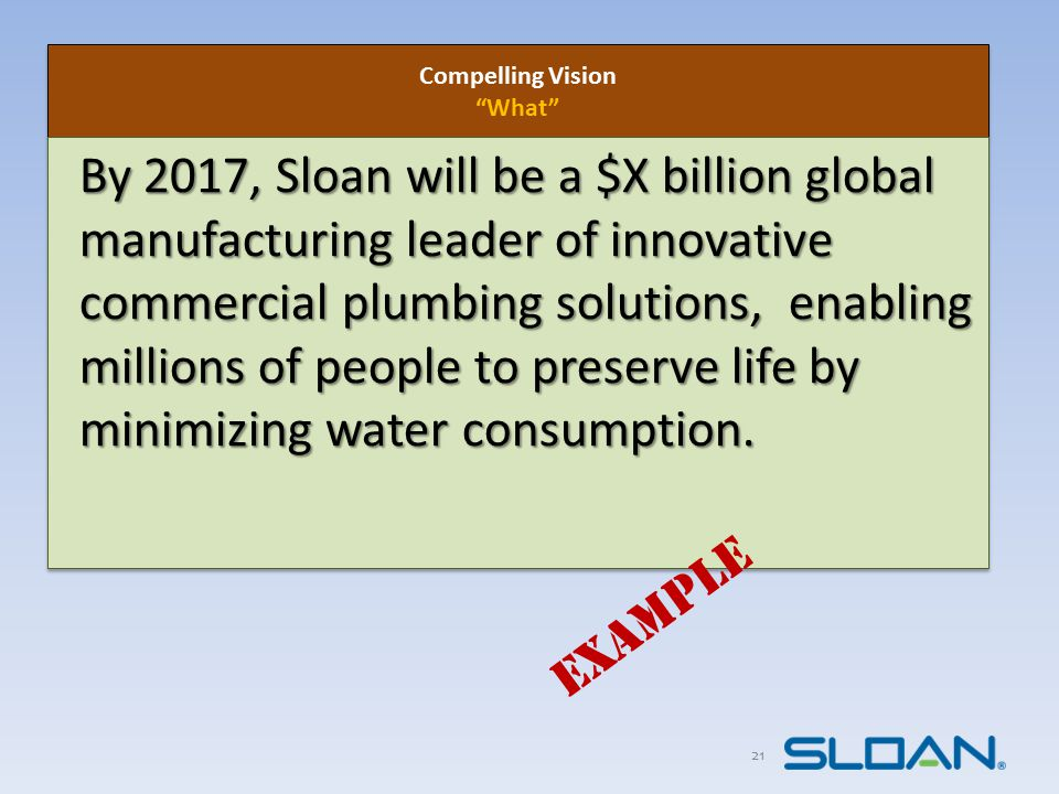 22 Compelling Vision What Compelling Vision What By 2017, Sloan will be a $X billion global manufacturing leader of Innovative commercial plumbing solutions, enabling millions of people to preserve life by minimizing water consumption.