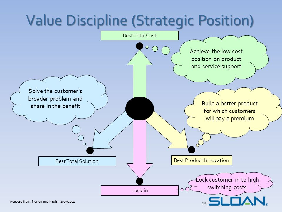 The Discipline of Best Total Cost Culture Disciplined teamwork Process focused Conformance to one size fits all mindset Organization Centralized functions High skills at core I.T.